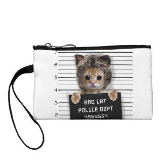 mugshot cat - crazy cat - kitty - feline coin purse