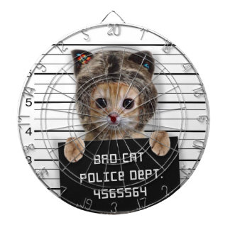 mugshot cat - crazy cat - kitty - feline dartboard