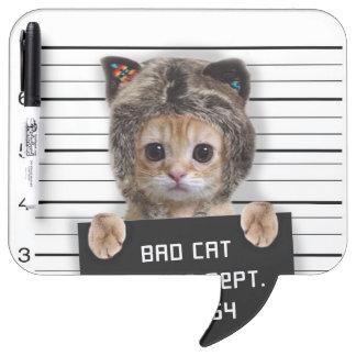 mugshot cat - crazy cat - kitty - feline dry erase board