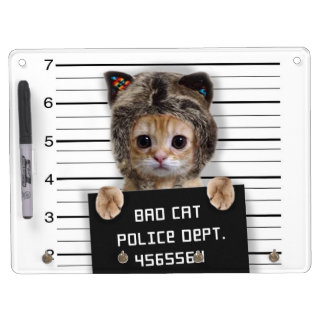 mugshot cat - crazy cat - kitty - feline dry erase board with keychain holder