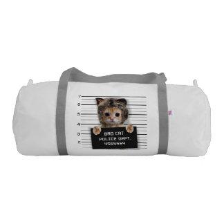 mugshot cat - crazy cat - kitty - feline gym bag