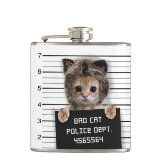 mugshot cat - crazy cat - kitty - feline hip flask