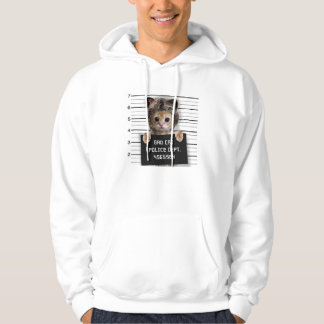 mugshot cat - crazy cat - kitty - feline hoodie
