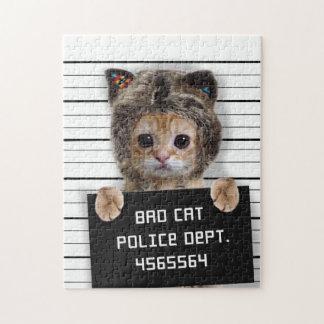 mugshot cat - crazy cat - kitty - feline jigsaw puzzle