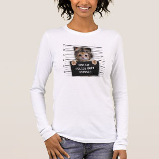 mugshot cat - crazy cat - kitty - feline long sleeve T-Shirt