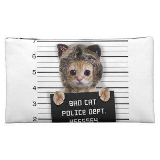 mugshot cat - crazy cat - kitty - feline makeup bags