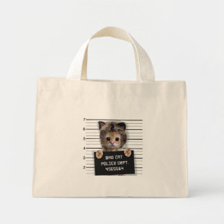 mugshot cat - crazy cat - kitty - feline mini tote bag