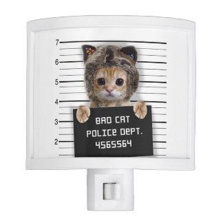 mugshot cat - crazy cat - kitty - feline nite lights