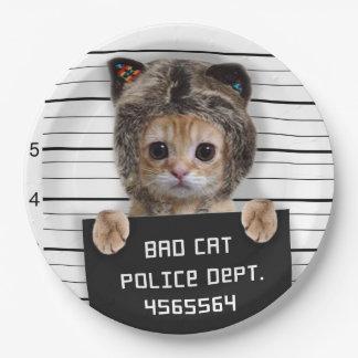 mugshot cat - crazy cat - kitty - feline paper plate