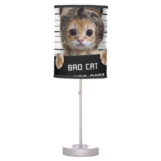mugshot cat - crazy cat - kitty - feline table lamp
