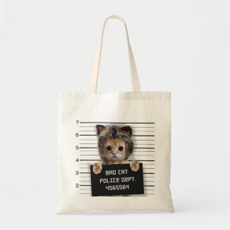 mugshot cat - crazy cat - kitty - feline tote bag