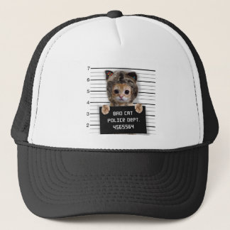mugshot cat - crazy cat - kitty - feline trucker hat