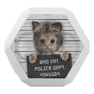 mugshot cat - crazy cat - kitty - feline white bluetooth speaker
