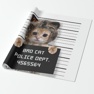 mugshot cat - crazy cat - kitty - feline wrapping paper