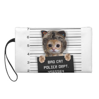 mugshot cat - crazy cat - kitty - feline wristlet purse