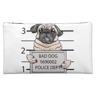 mugshot dog cartoon. cosmetic bags