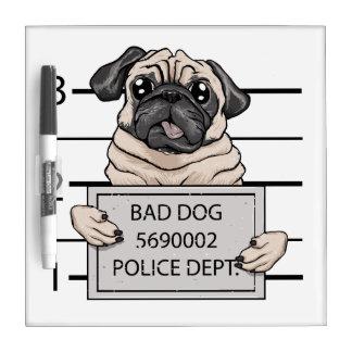 mugshot dog cartoon. dry erase boards