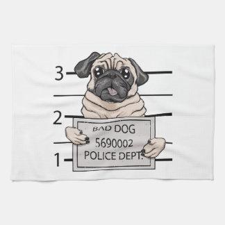 mugshot dog cartoon. towels
