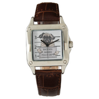 mugshot dog cartoon. wrist watch