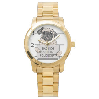 mugshot dog cartoon. wrist watches