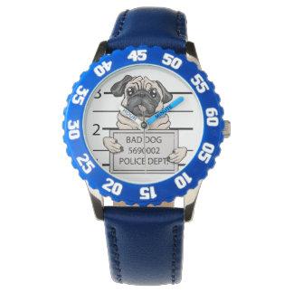 mugshot dog cartoon. wristwatches
