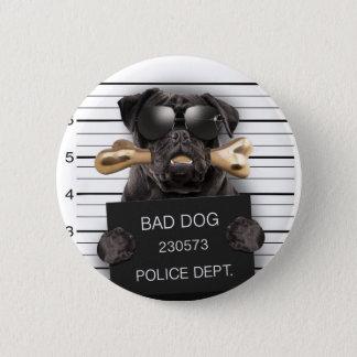 Mugshot dog,funny pug,pug 2 inch round button