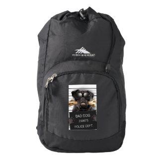 Mugshot dog,funny pug,pug backpack