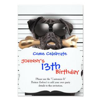 Mugshot dog,funny pug,pug card