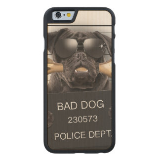 Mugshot dog,funny pug,pug carved maple iPhone 6 case