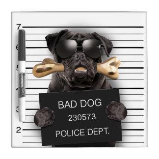 Mugshot dog,funny pug,pug dry erase board