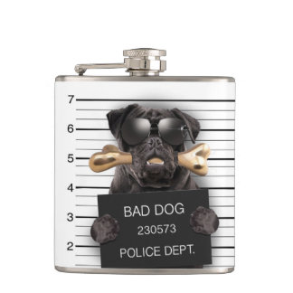 Mugshot dog,funny pug,pug hip flask