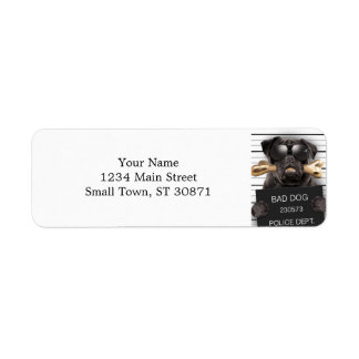 Mugshot dog,funny pug,pug return address label