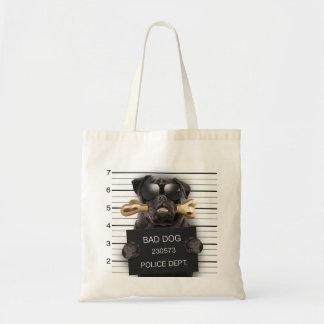 Mugshot dog,funny pug,pug tote bag