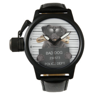 Mugshot dog,funny pug,pug wrist watch
