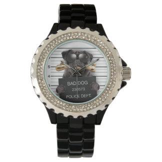 Mugshot dog,funny pug,pug wrist watches