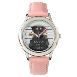 Mugshot dog,funny pug,pug wristwatch
