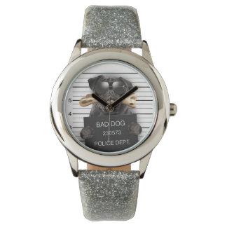 Mugshot dog,funny pug,pug wristwatches