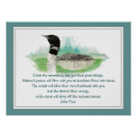 Muir Nature Quote, Watercolor Loon Wilderness Poster