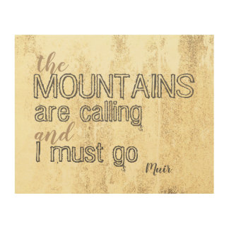 Muir quote the mountains are calling on wood panel