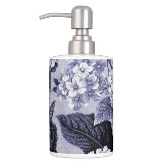 Mulberry Blue Purple Floral Toile No.1 Soap Dispenser And Toothbrush Holder