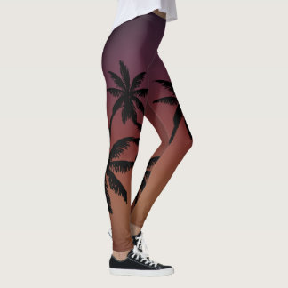 Mulberry Blue Purple Tan Brown Fade Palm Trees Leggings