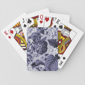 Mulberry Blue Vintage Floral Toile Fabric No.1 Playing Cards