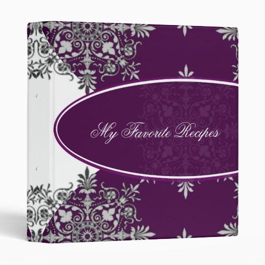 Mulberry Damask Emblem Recipe Book Vinyl Binders