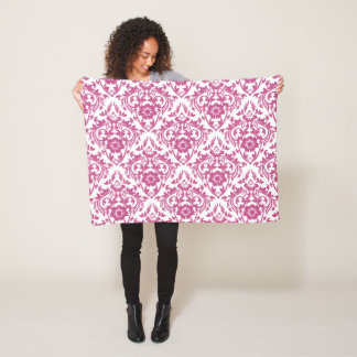 Mulberry Damask Floral Traditional Pattern Fleece Blanket