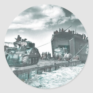 Mulberry Deep Water Harbor D-Day Classic Round Sticker