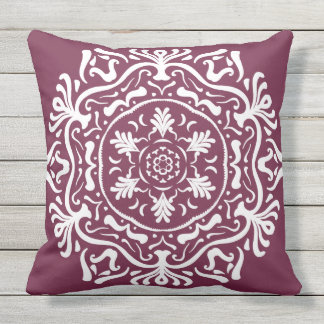 Mulberry Mandala Outdoor Pillow