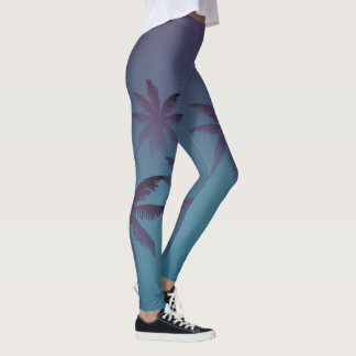 Mulberry Purple Teal Blue Gradient Fade Palm Trees Leggings