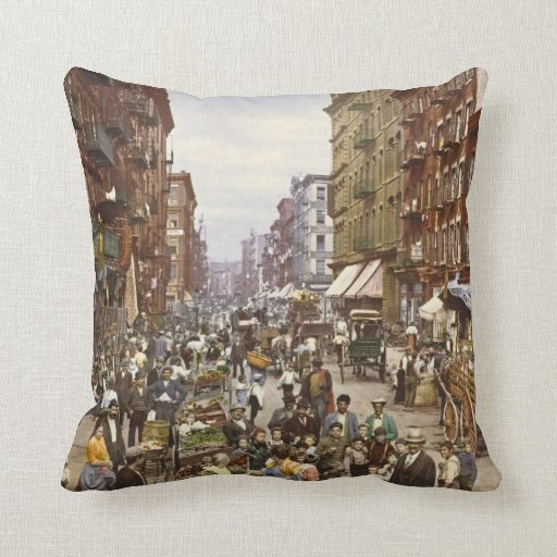 Mulberry Street Market New York City 1900 Throw Pillows
