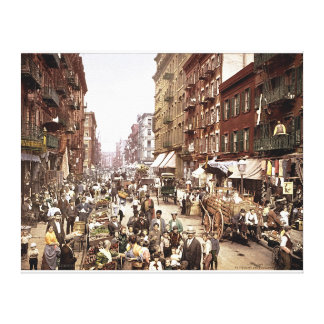 Mulberry Street NYC c. 1900 Color Stretched Canvas