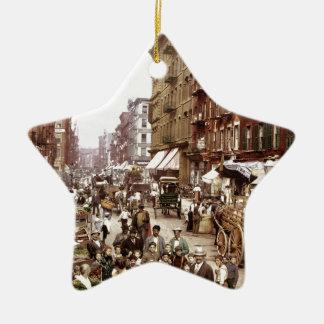 Mulberry Street NYC ca.1900 Ceramic Star Ornament